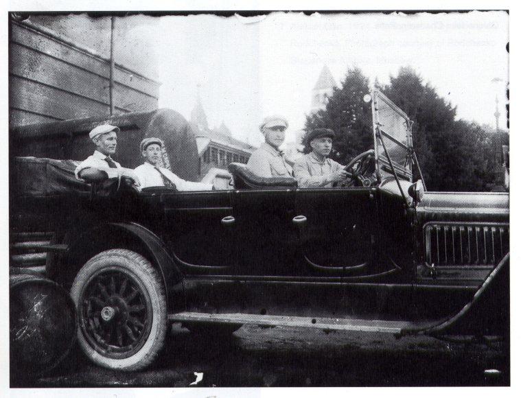 Constructivists (Karl Ioganson, Voldemars Andersons, Karlis Veidemanis, and Gustav Klucis) at the Kremlin, Summer 1918.